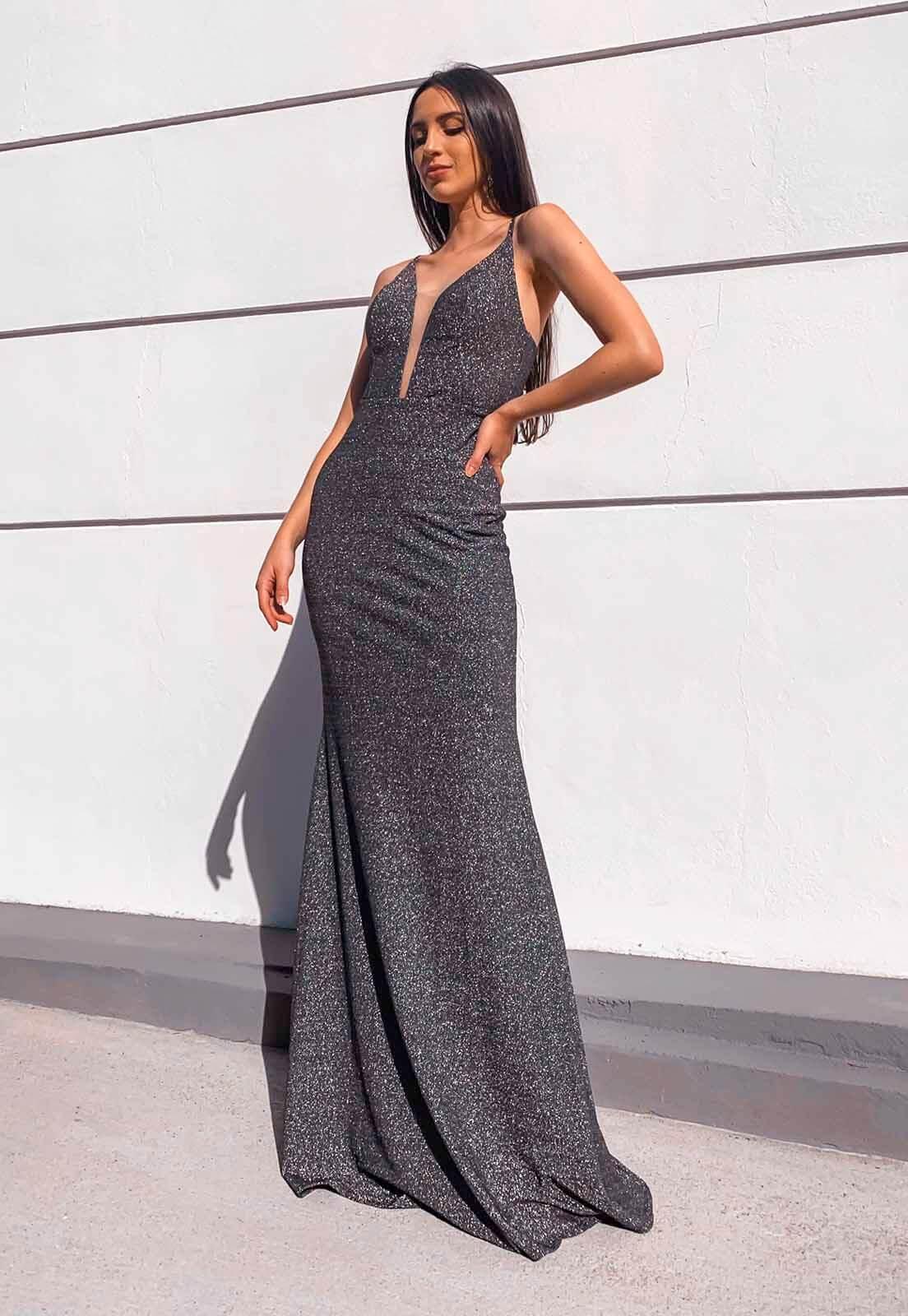 Vestido Sereia Lurex Prata
