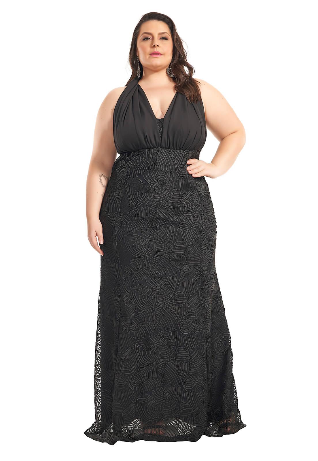 Vestido Sereia Mil Formas Plus Size Preto