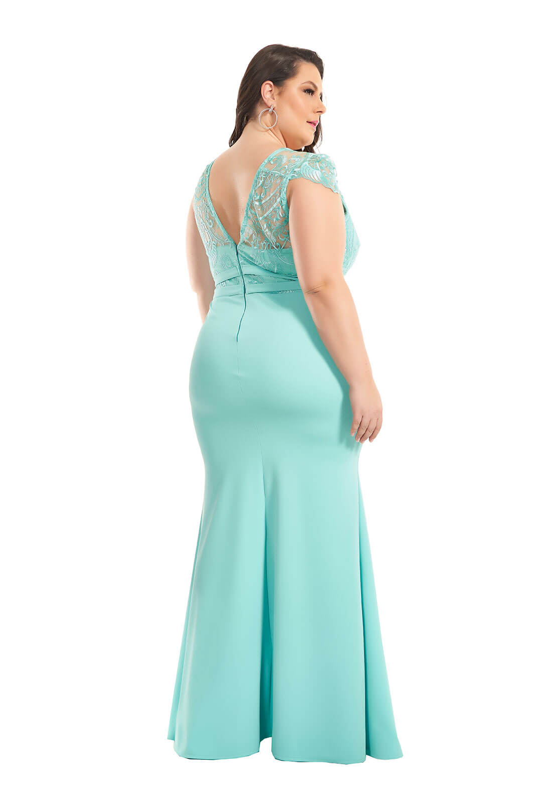 Vestido Sereia Plus Size Azul Tiffany