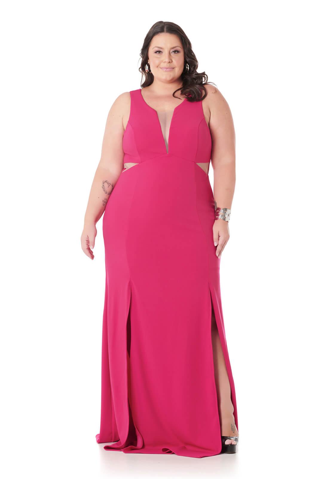 Vestido Sereia Plus Size Com Fendas Pink