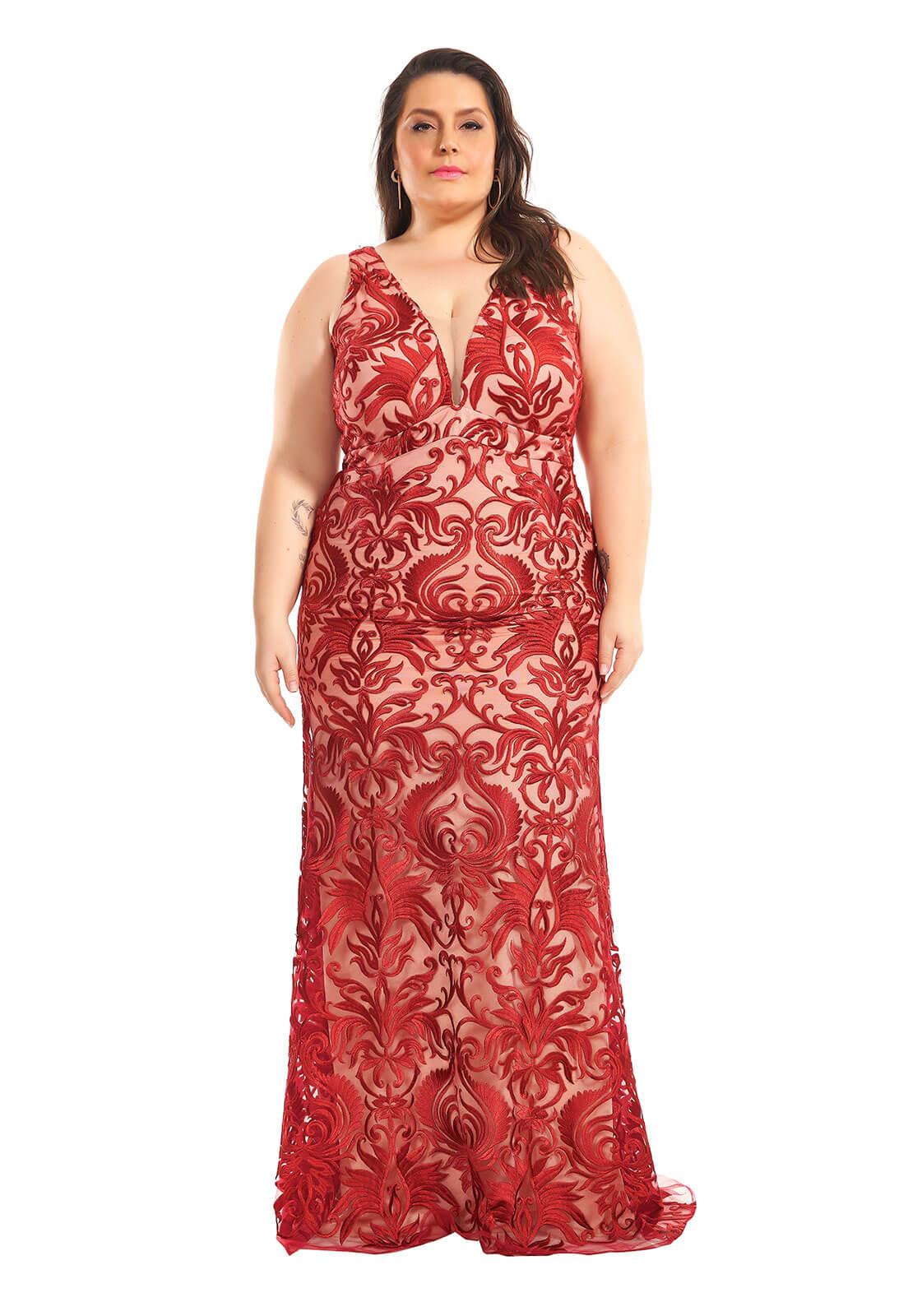 Vestido Sereia Plus Size Marsala