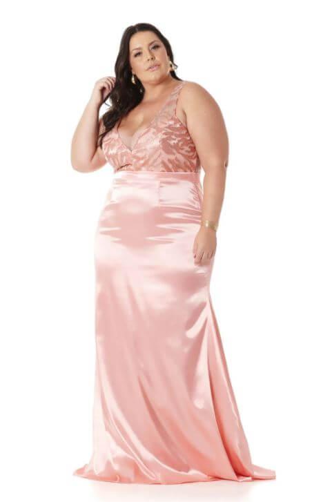 Vestido Sereia Plus Size Salmão
