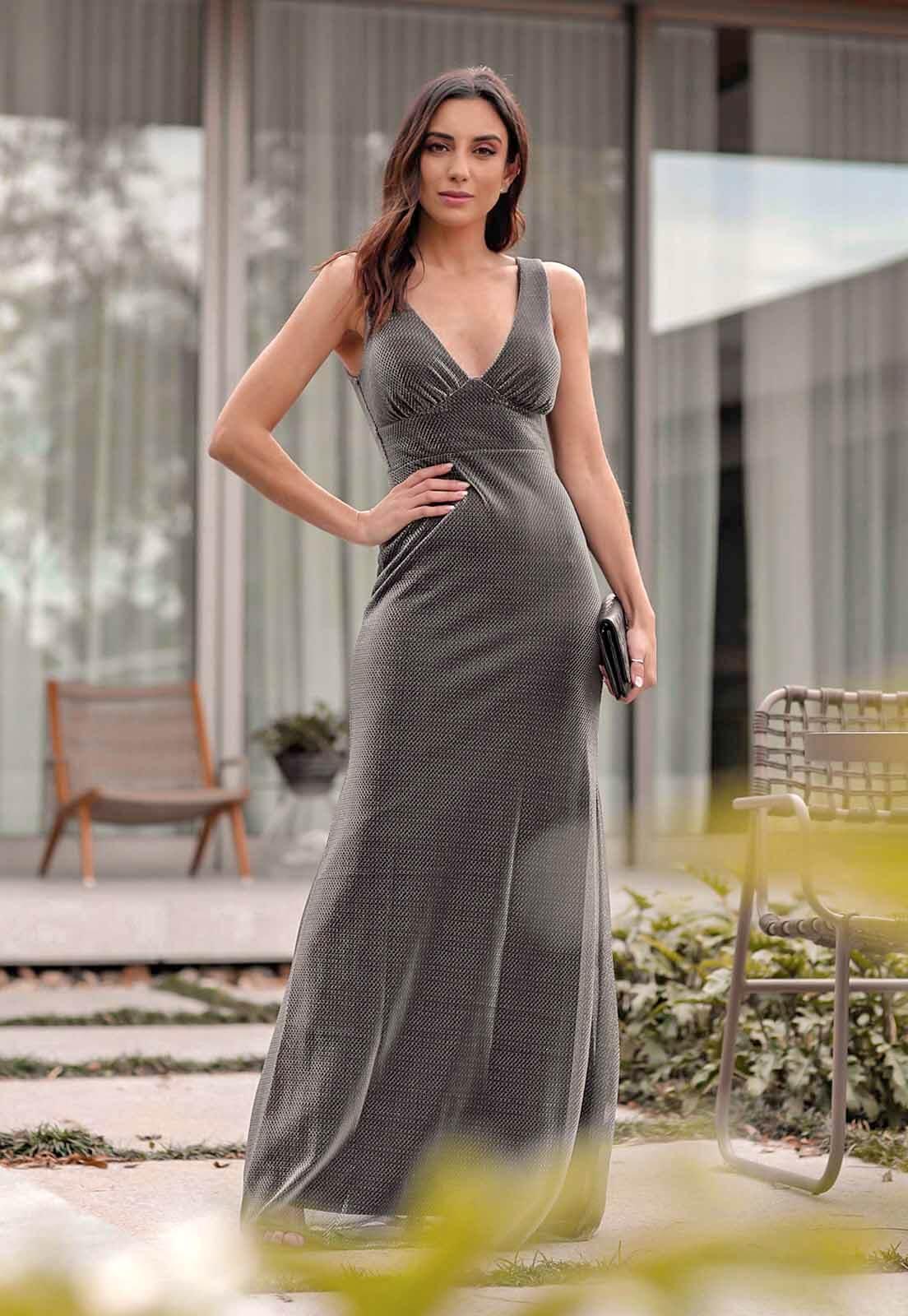 Vestido Sereia Tule Lurex Prata