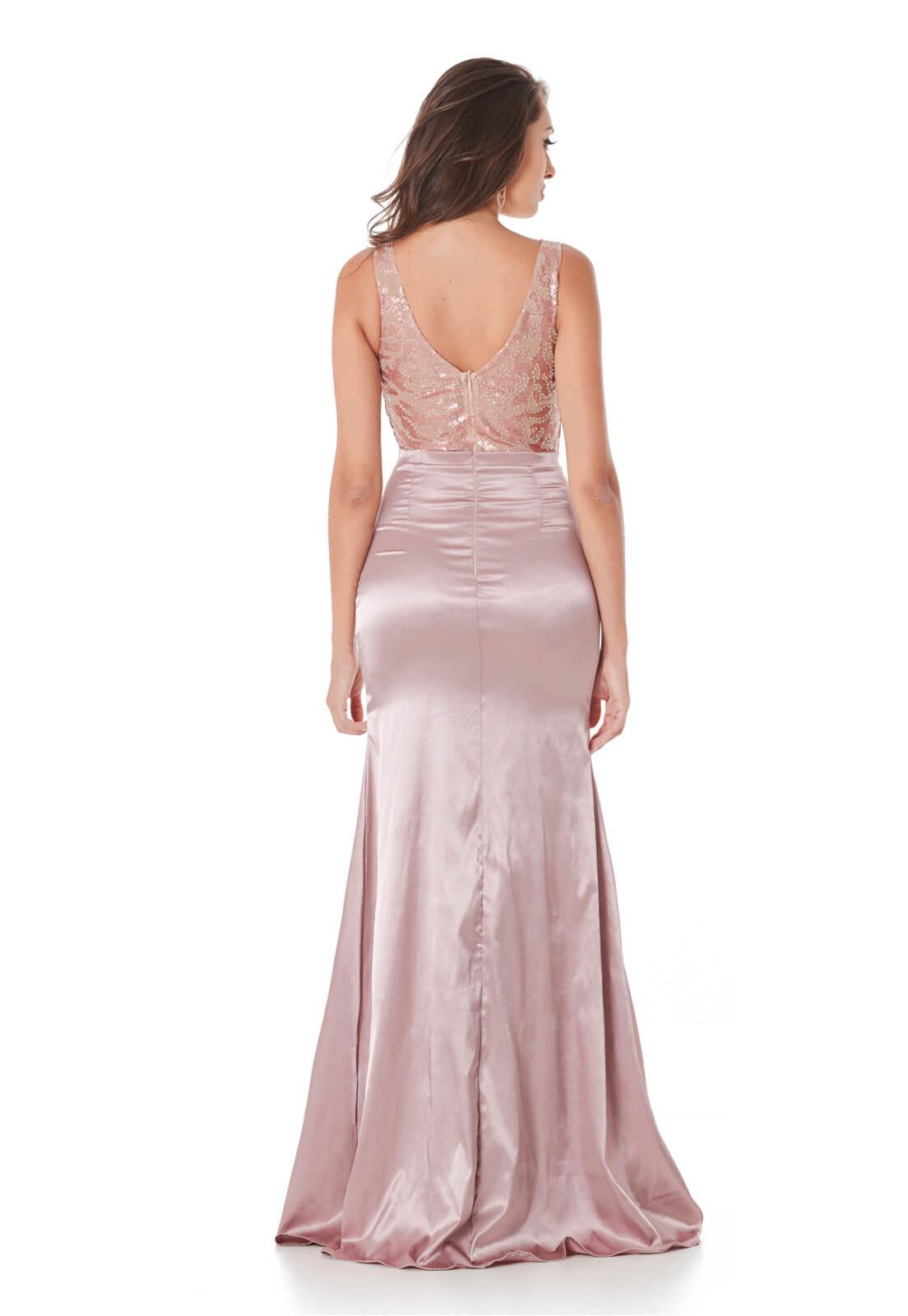 Vestido Sereia Tule Paetê Rosê