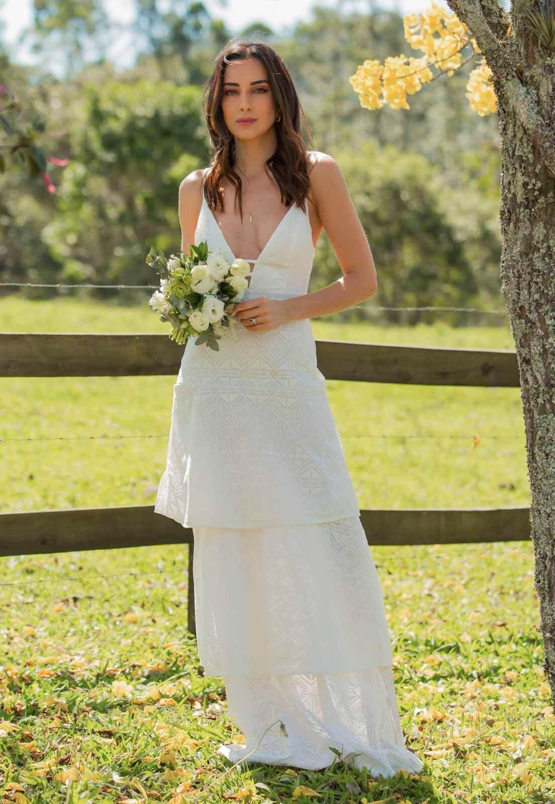 Vestido Tela Bordada Branco