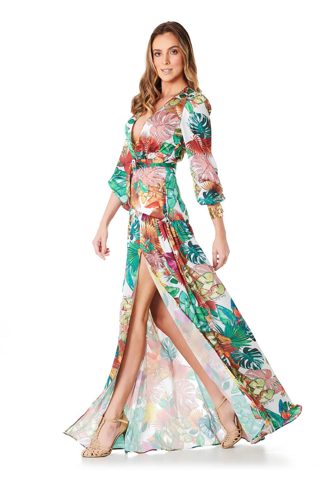 Vestido Tropical Com Cinto