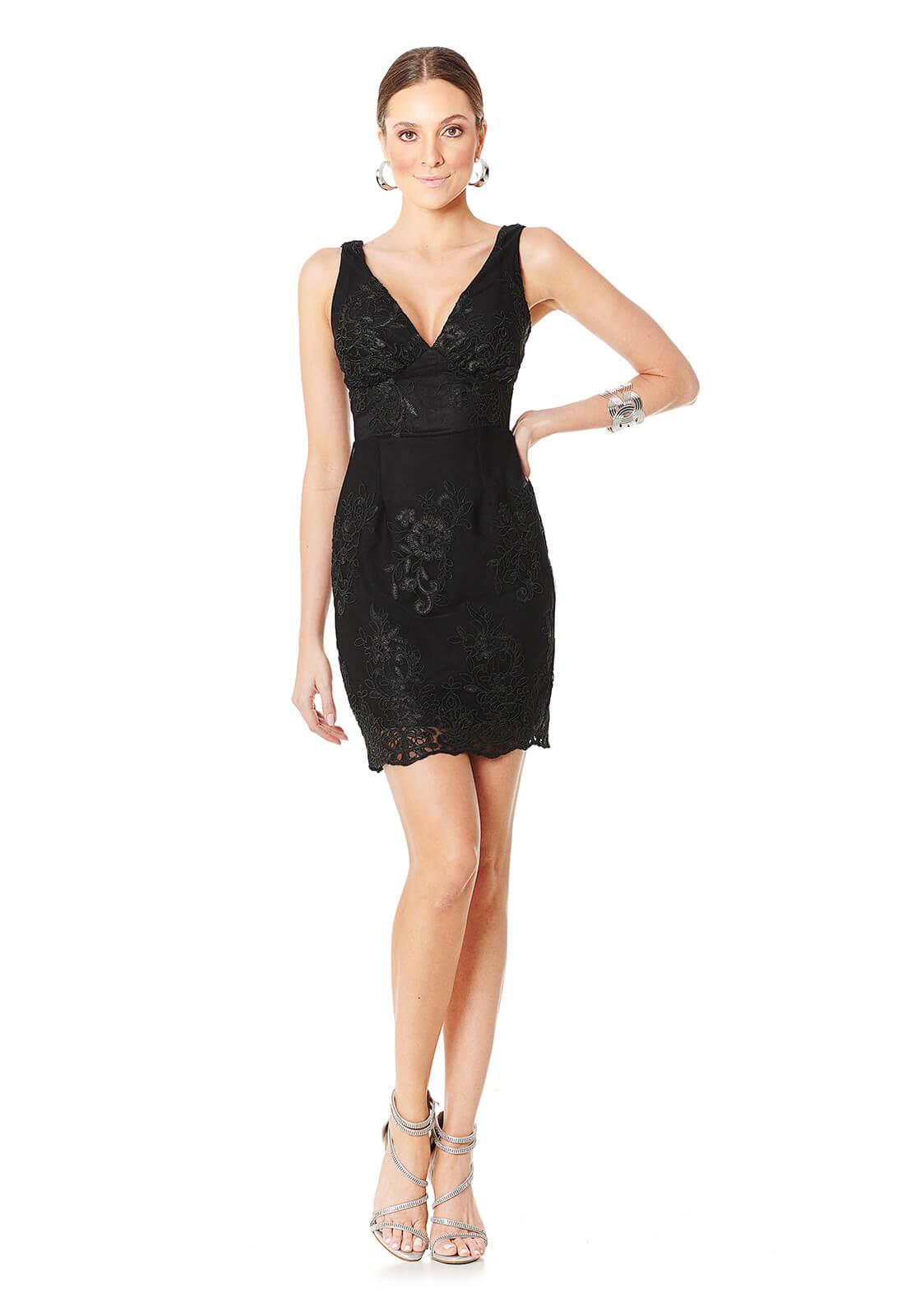 Vestido Tule Flores Black