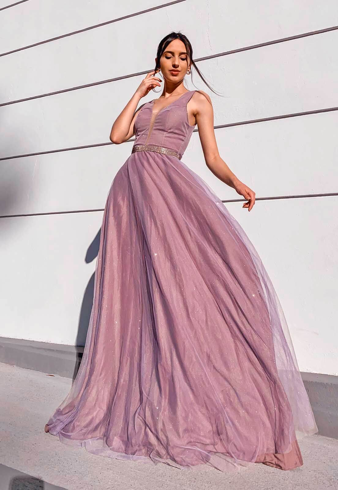 Vestido Tule Glitter Lilás