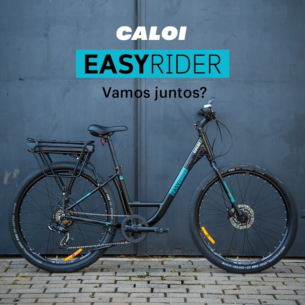 BICICLETA CALOI ELÉTRICA E-VIBE EASY RIDER R27 5V7 PRETO 2020