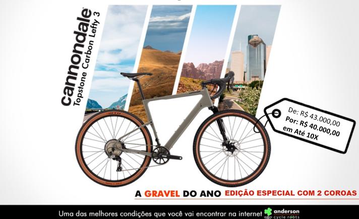 BICICLETA CANNONDALE TOPSTONE CARBON LEFTY 3 G CINZA 2021  EDIÇÃO ESPECIAL ANDERSON 2 COROAS