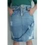 Saia feminina jeans amarração cós Rowan