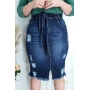 Saia feminina jeans com amarração Rowan