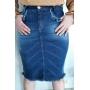 Saia feminina jeans detalhe bolso Rowan