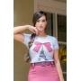 T-shirt feminina Daniela estampa bordada Luciana Pais
