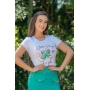 T-shirt feminina Tamara estampa frontal Luciana Pais
