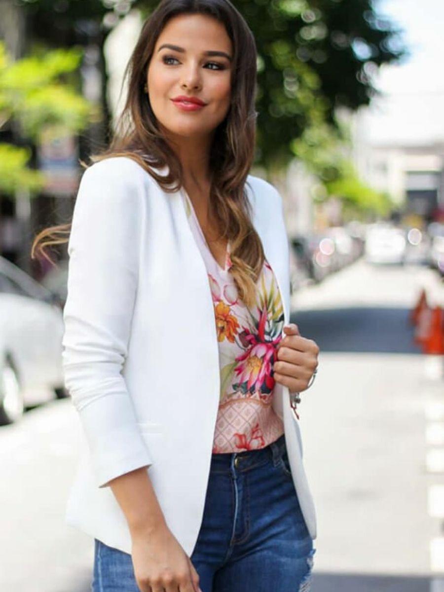 Blazer feminino com bolsos Moda Evangélica Doce Flor