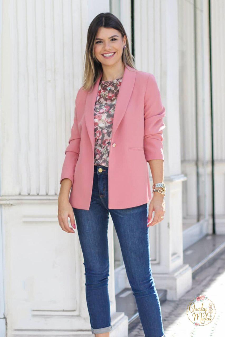 Blazer feminino maxi em alfaiataria com botão Doce Flor