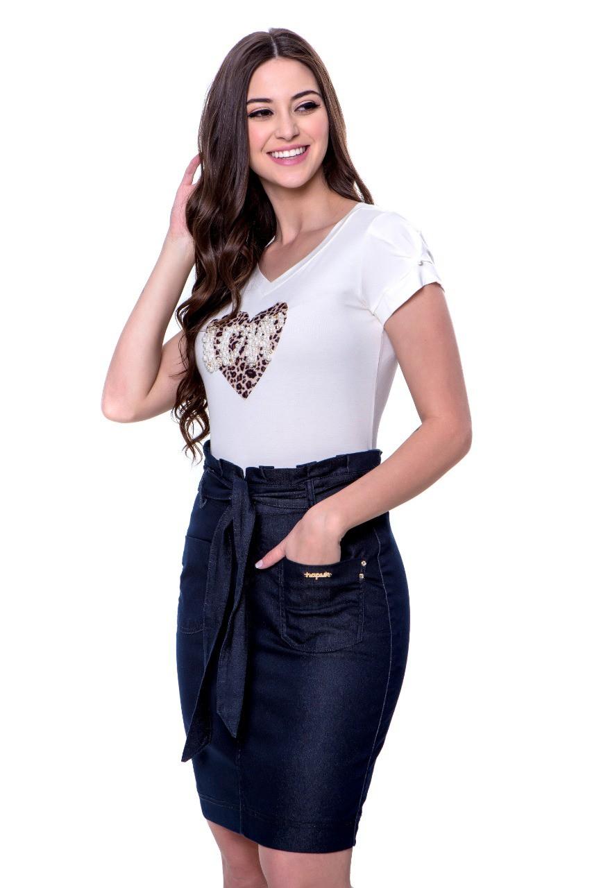 Blusa Feminina com aplique animal print e pérolas Hapuk
