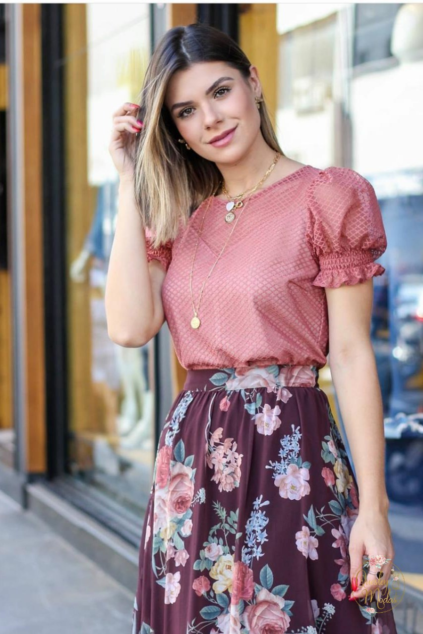 Blusa feminina em tule decote coração Doce Flor