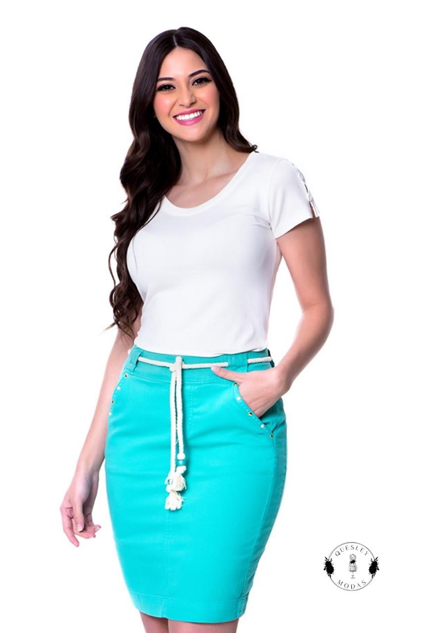 Blusa feminina Nayara básica com botões manga Hapuk
