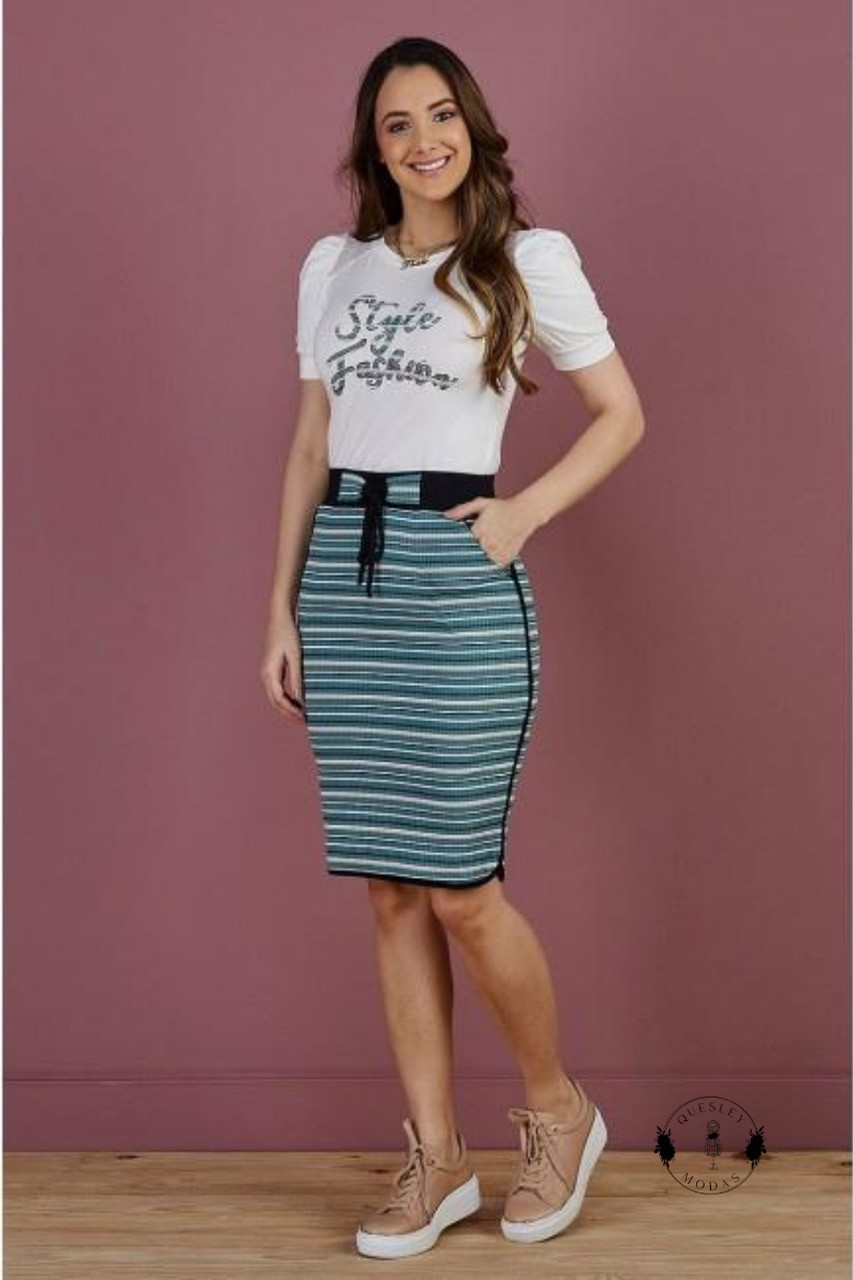 Conjunto feminino style fashion saia listrada com aplique blusa Tata Martello