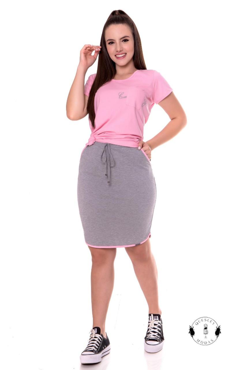 Conjunto feminino T-shirt com bolso e saia em algodão Hadaza