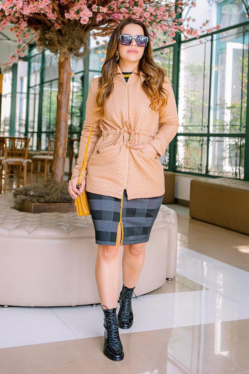 Parca feminina em metalassê com bolso Luciana Pais