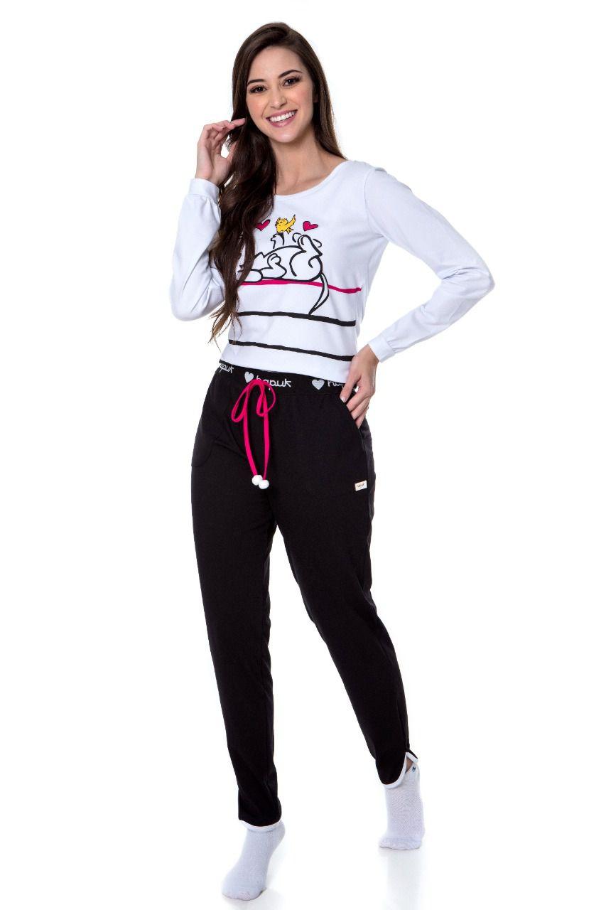 Pijama Cristina blusa manga longa e calça cós elastico Hapuk