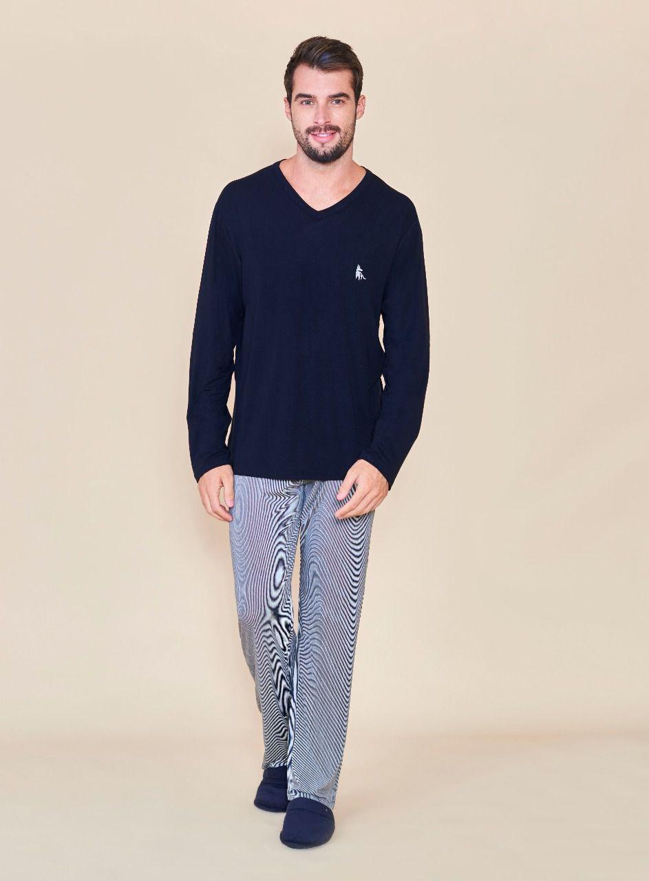 Pijama masculino listrado Lua Cheia