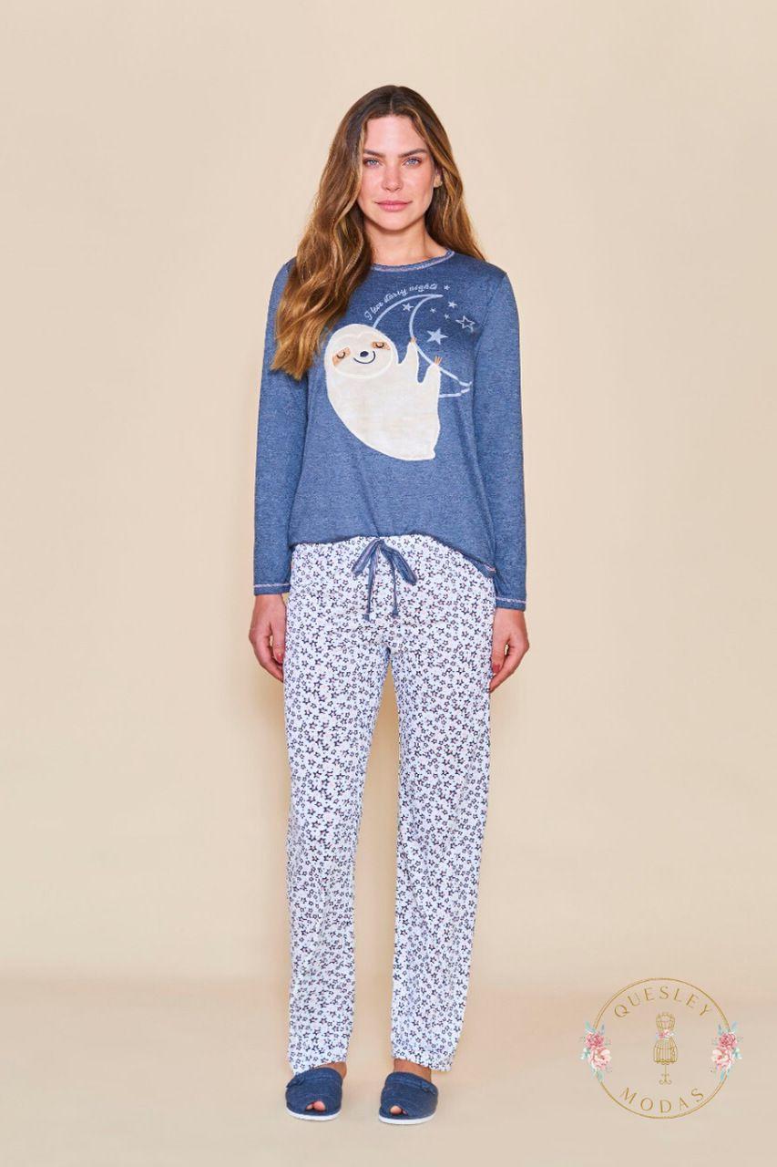 Pijamas femininos bicho preguiça Lua Cheia