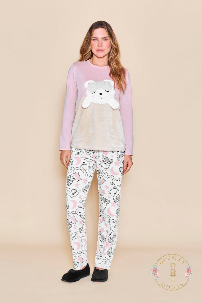 Pijamas femininos com aplique em urso Lua Cheia