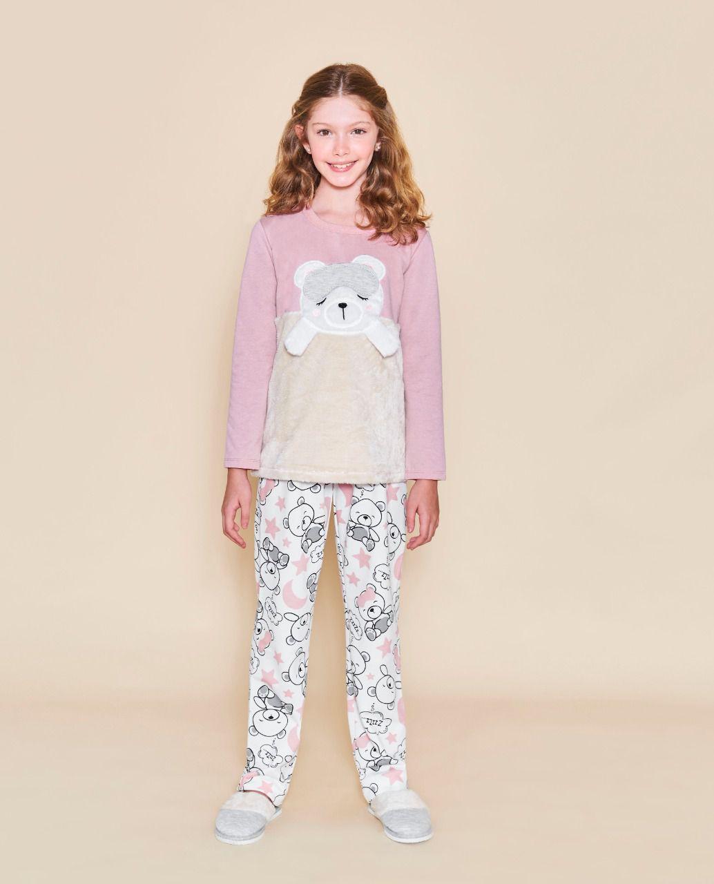 Pijamas femininos infatil urso de pelúcia Lua Cheia