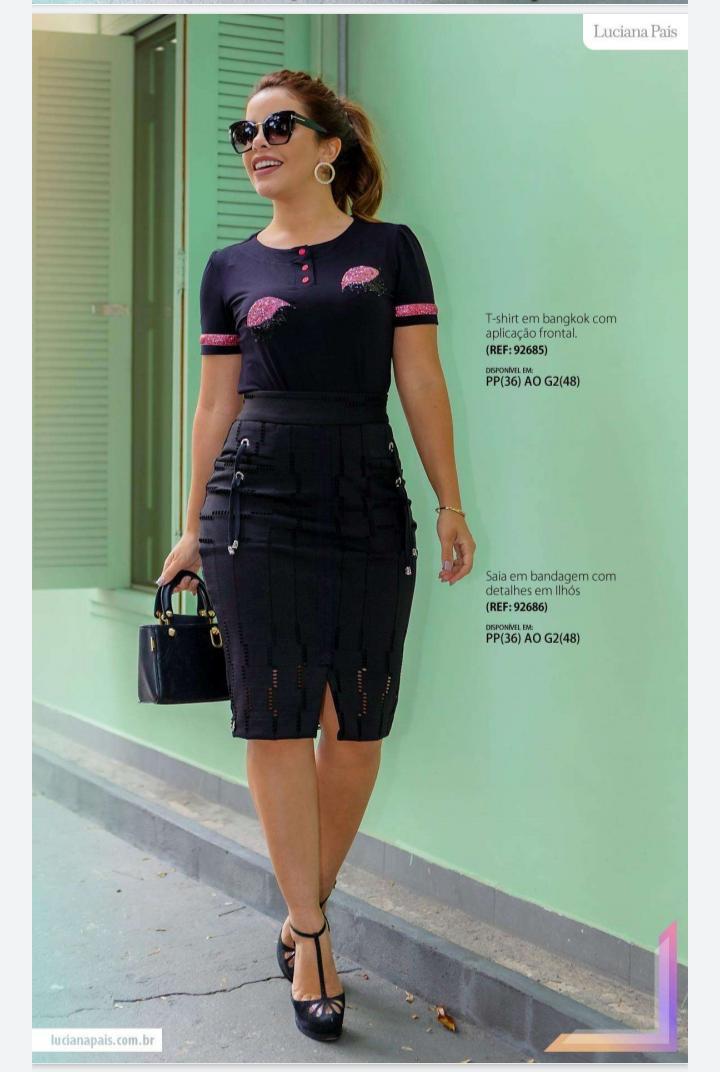 Saia feminina detalhe em ilhós e cadarço moda evangélica luciana pais