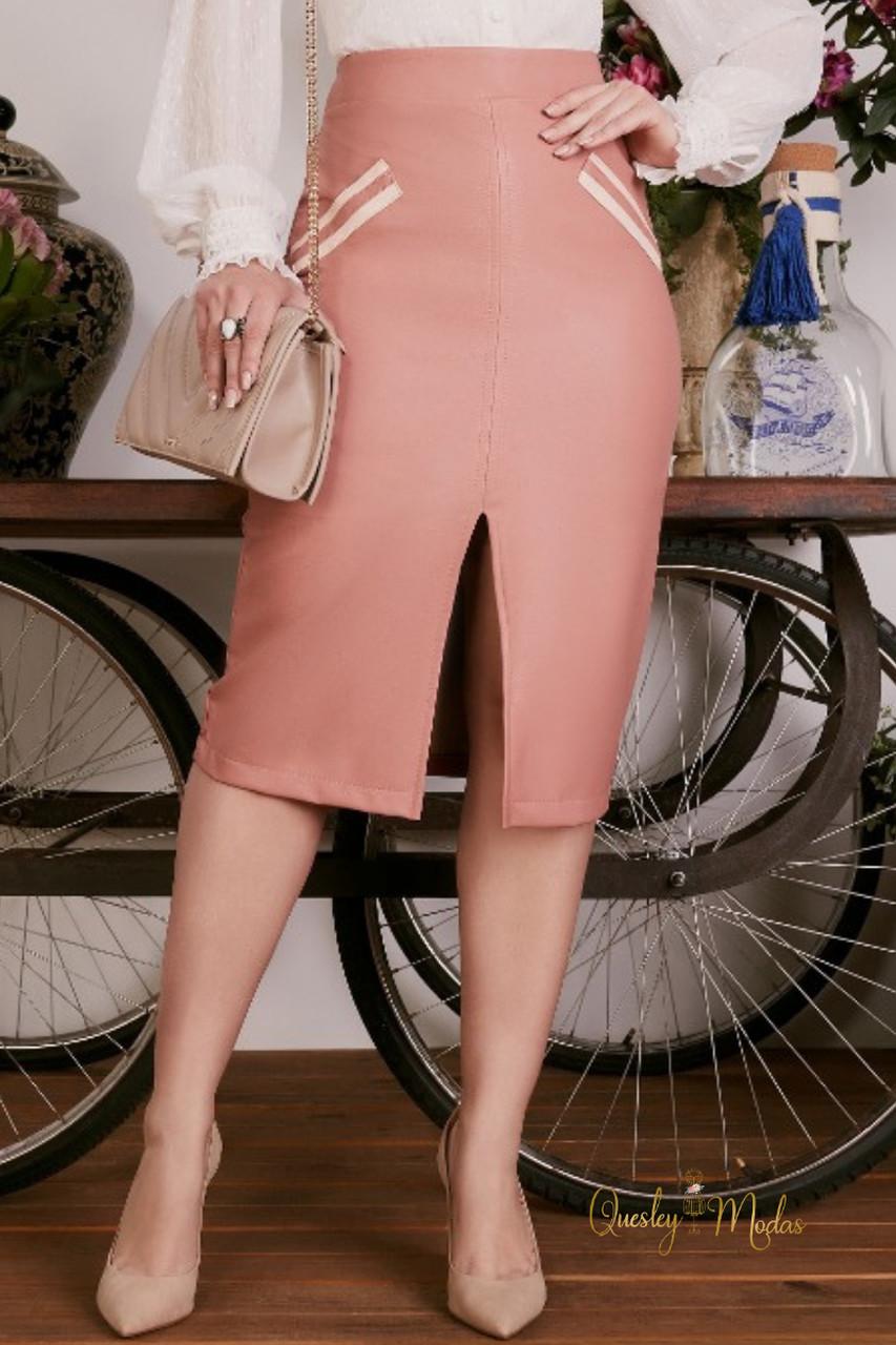 Saia feminina fenda em couro sintético Fascíniu's
