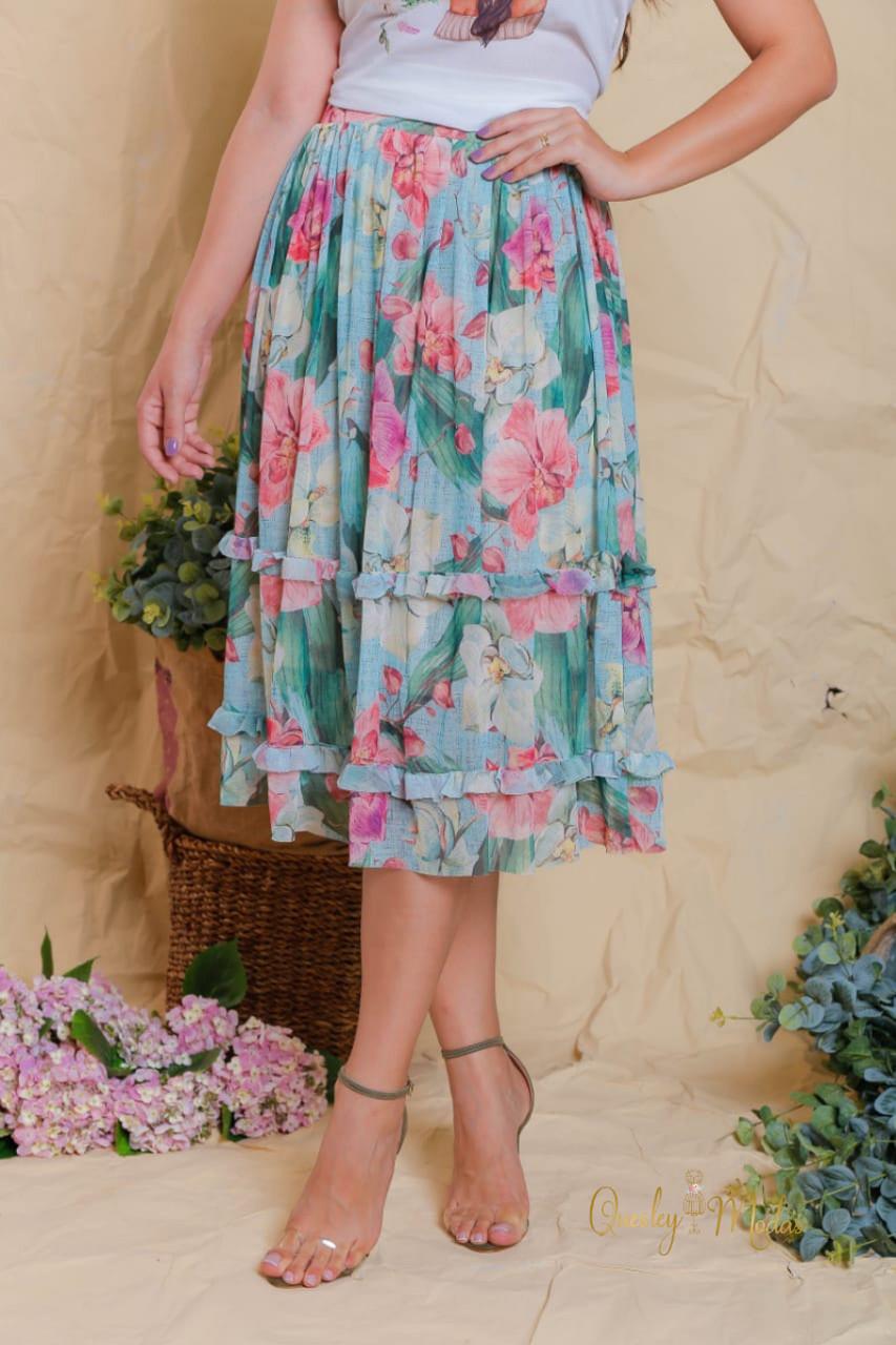 Saia feminina floral em tule Cawane Victória Princess