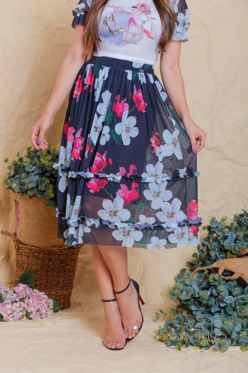 Saia feminina floral em tule Lara Victória Princess