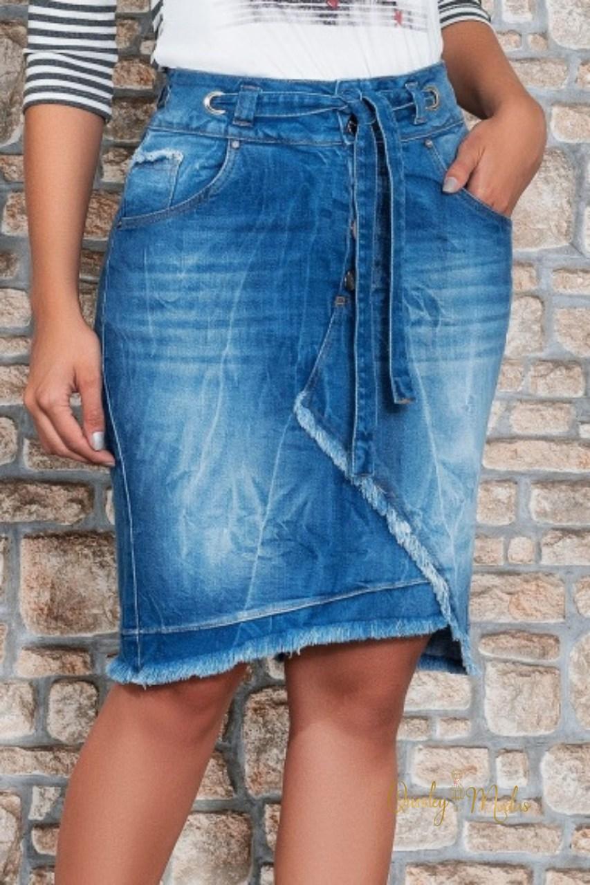 Saia feminina jeans Alexandra Nítido