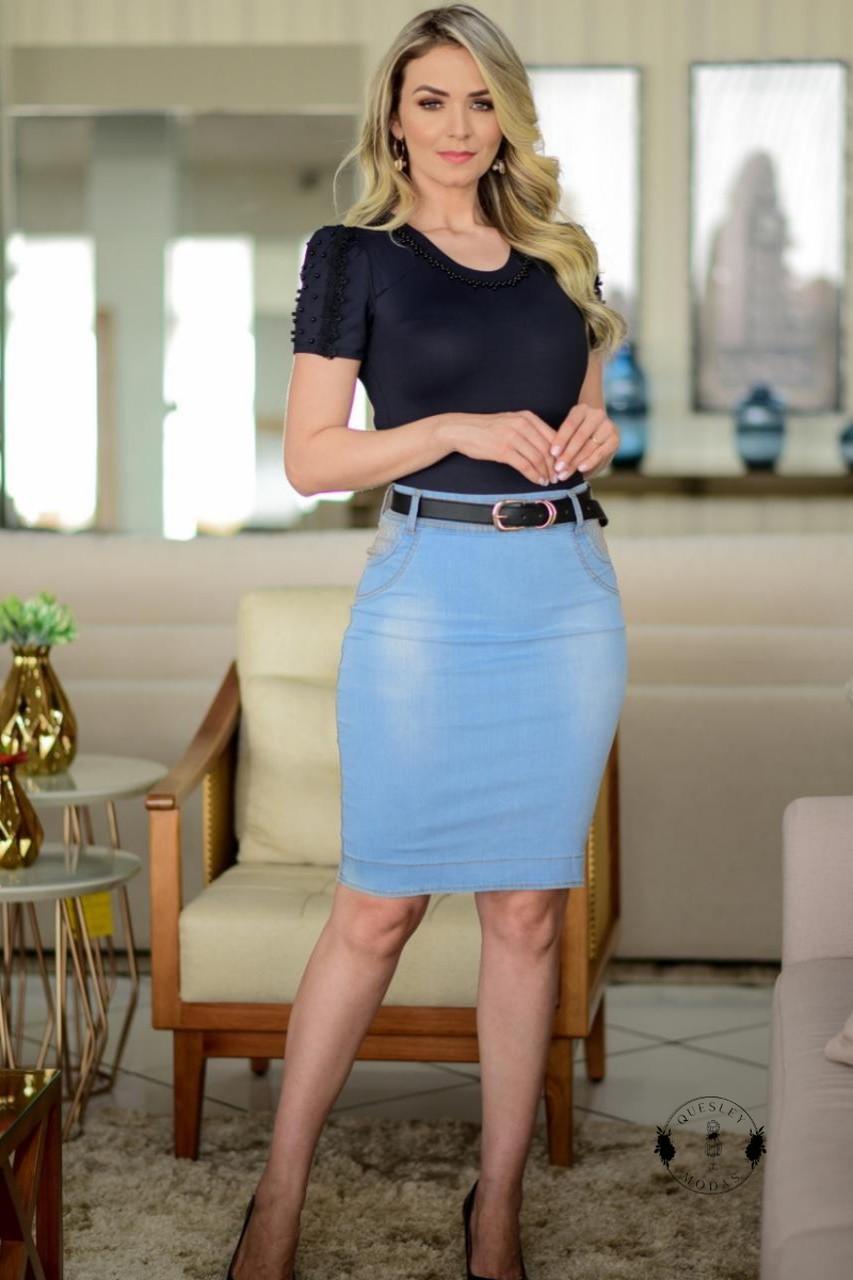 Saia feminina jeans com elastano e detalhes bolso Maria Amore