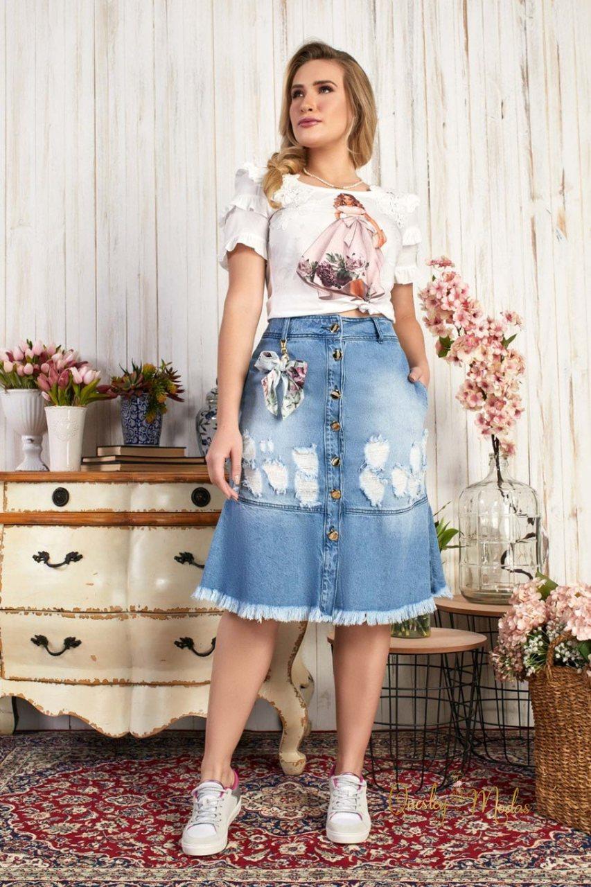 Saia feminina jeans Paula Fascíniu's
