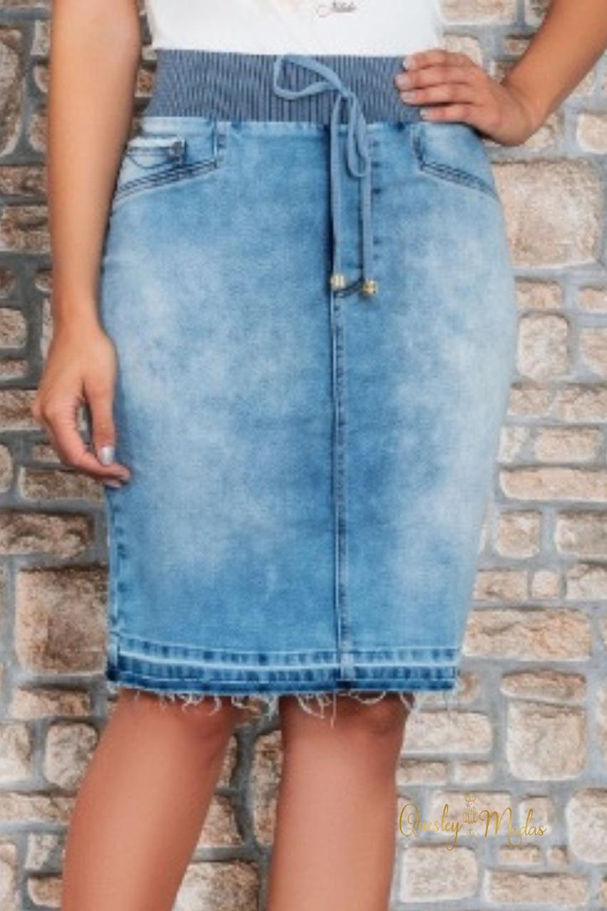 Saia feminina jeans Sarita Nítido