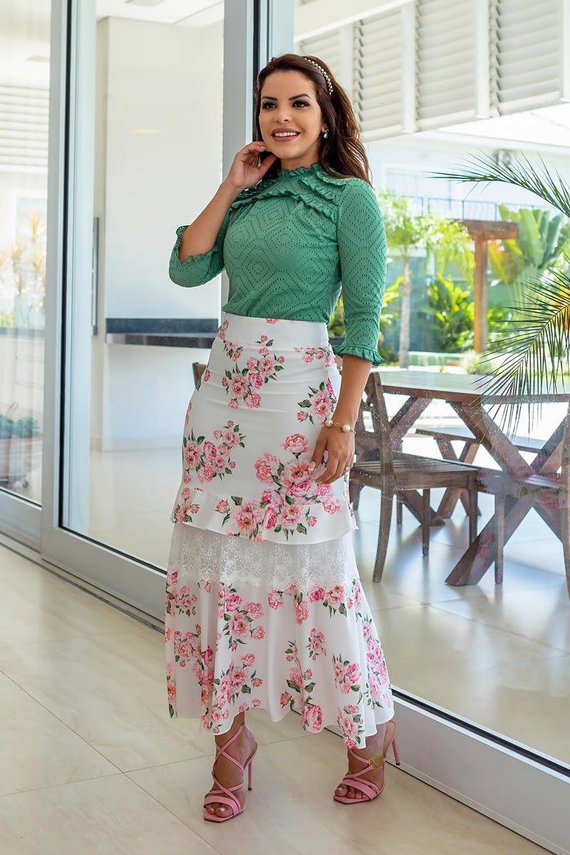 Saia feminina longa em renda floral luciana pais