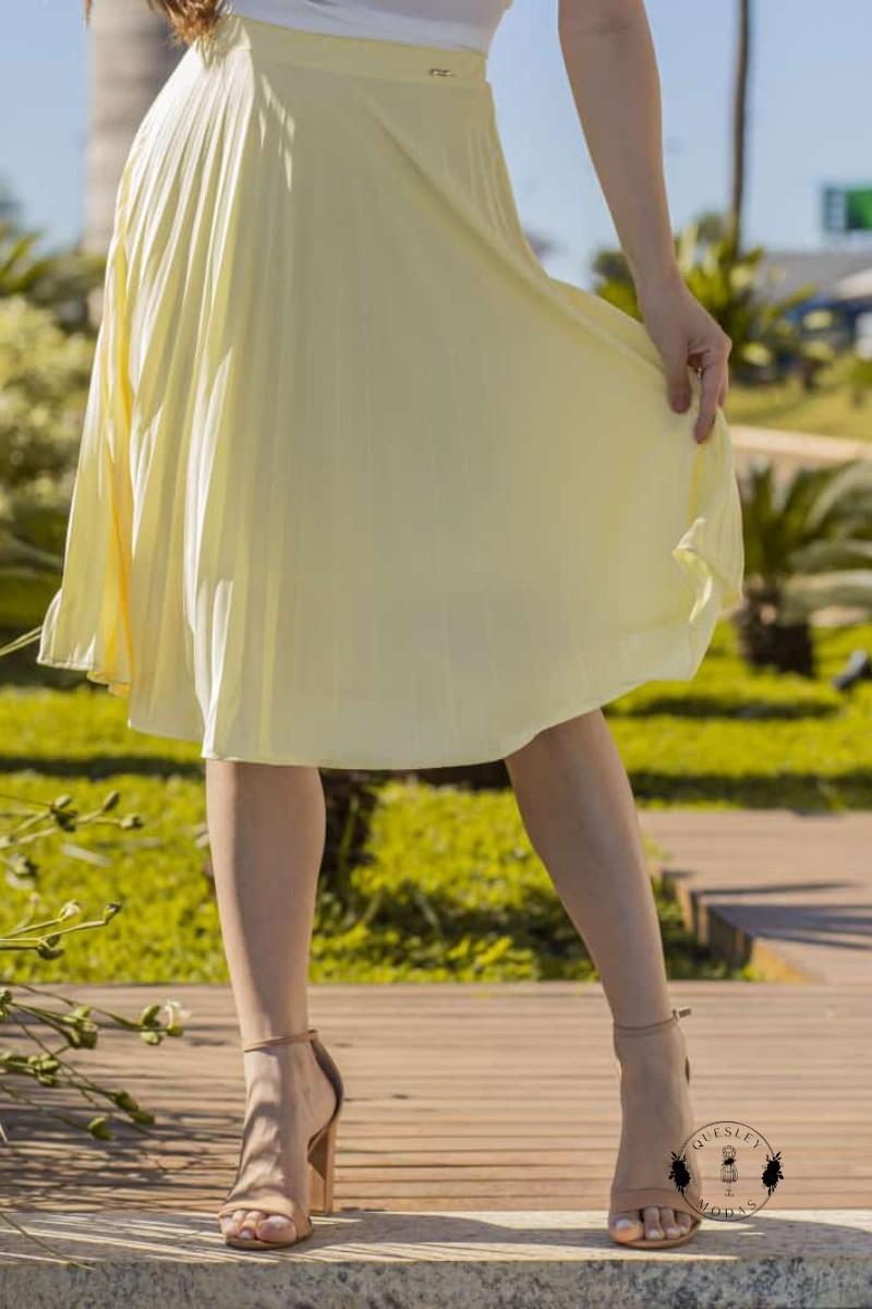 Saia Feminina Plissada Yellow  Victórias Princess