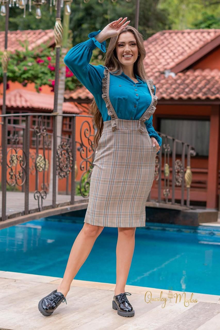 Salopete feminina xadrez Luciana Pais