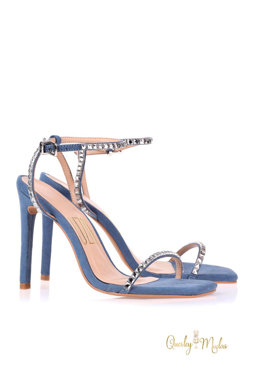 Sandália Salto Alto Camurça Safira Uza Shoes