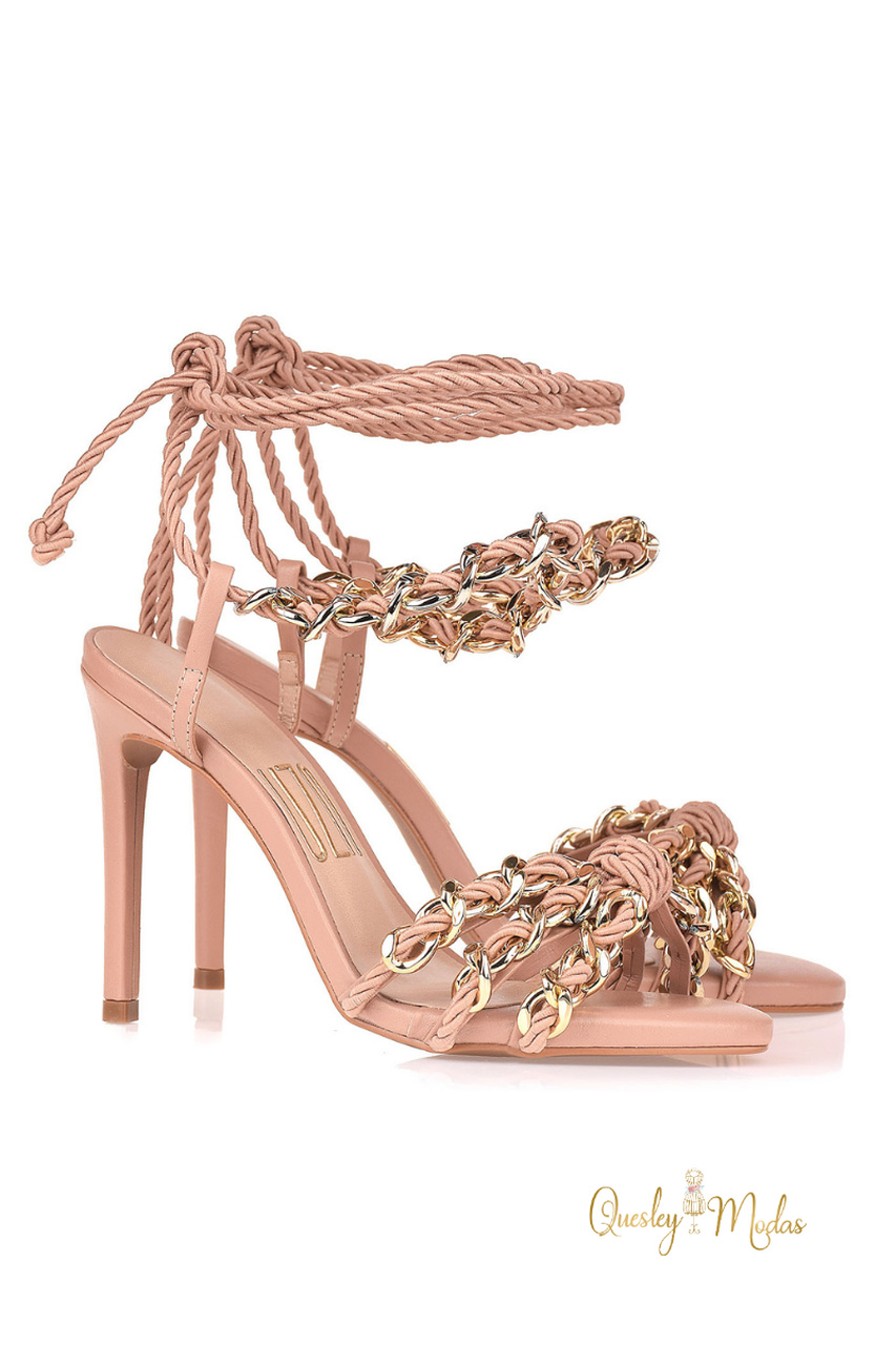 Sandália Salto Alto New Couro Nude Uza Shoes
