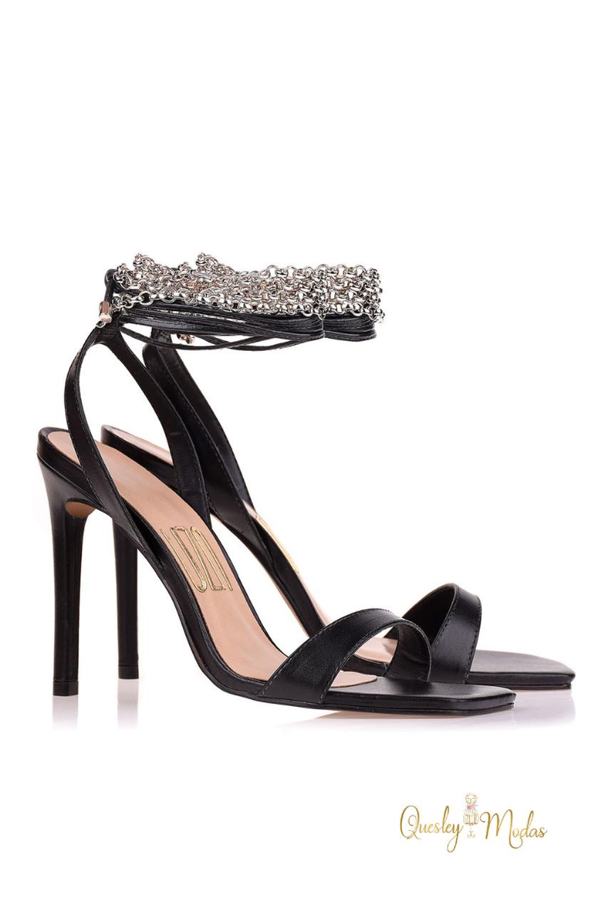 Sandália Salto Alto New Couro Preto Uza Shoes