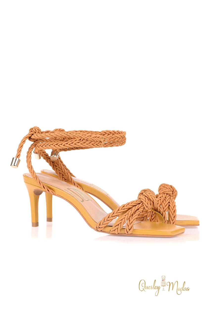 Sandália Salto Médio Cord Mustard Uza Shoes