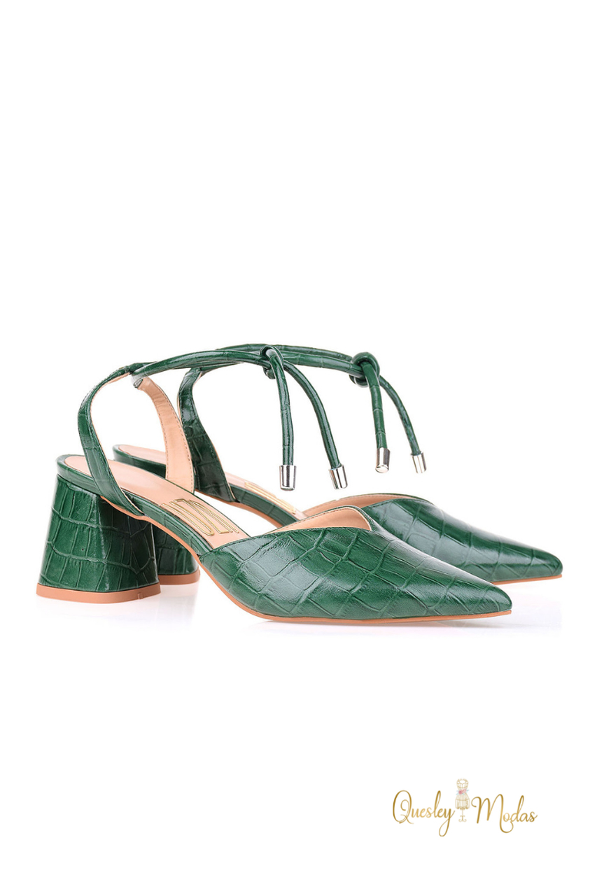 Slingback Salto Médio Croco Grass Uza Shoes