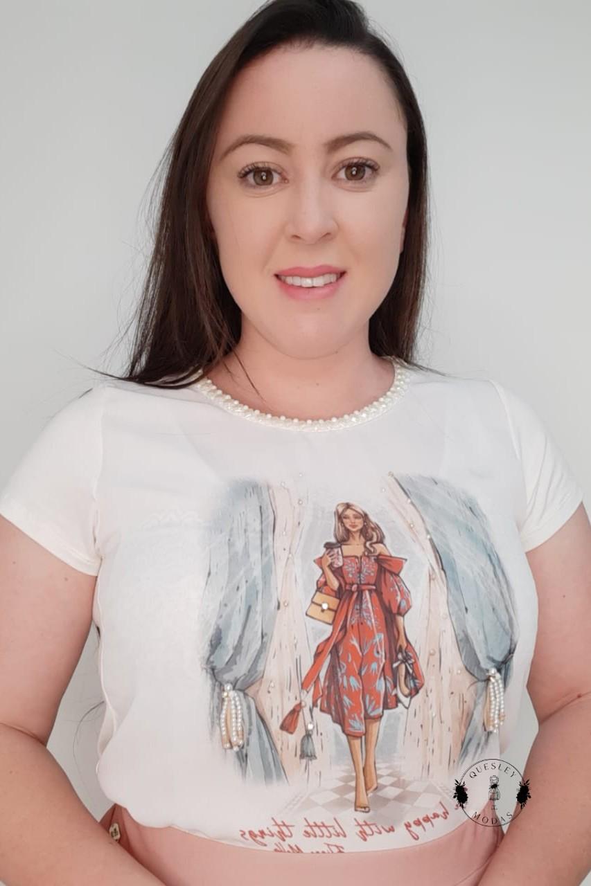 T-Shirt Feminina bordada com pérolas estampa exclusiva Amo Cores Victórias Princess