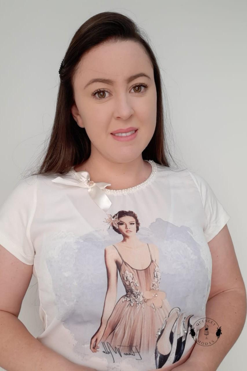 T-Shirt Feminina bordada com pérolas estampa exclusiva Ballet Rose Victórias Princess